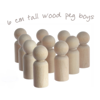 6cm tall wooden peg people boys - 10 pack