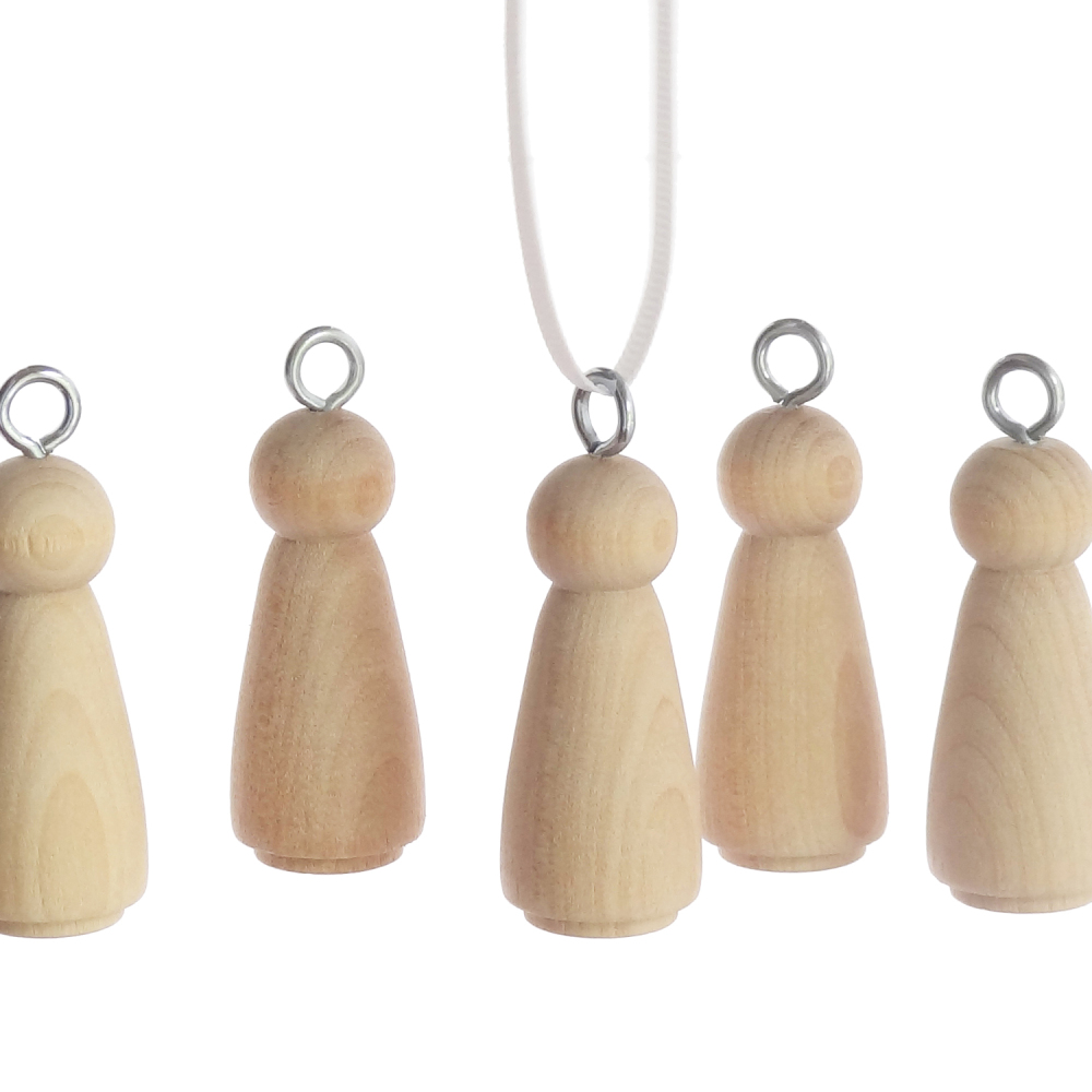 Five 5.1cm wooden peg doll girls with hanging ring