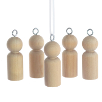 Five 5.1cm wooden peg doll boys with hanging ring
