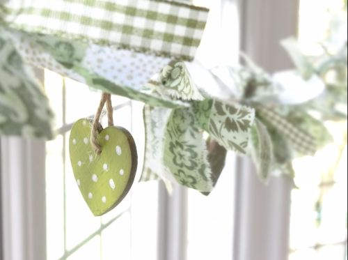 Spring greens hand-painted solid wooden heart and fabric garland