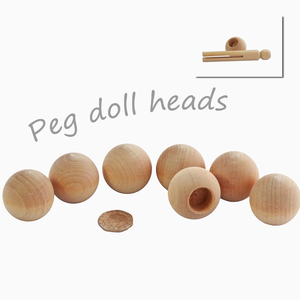Seven 3.2cm wooden beads to make heads for dolly pegs and peg dolls