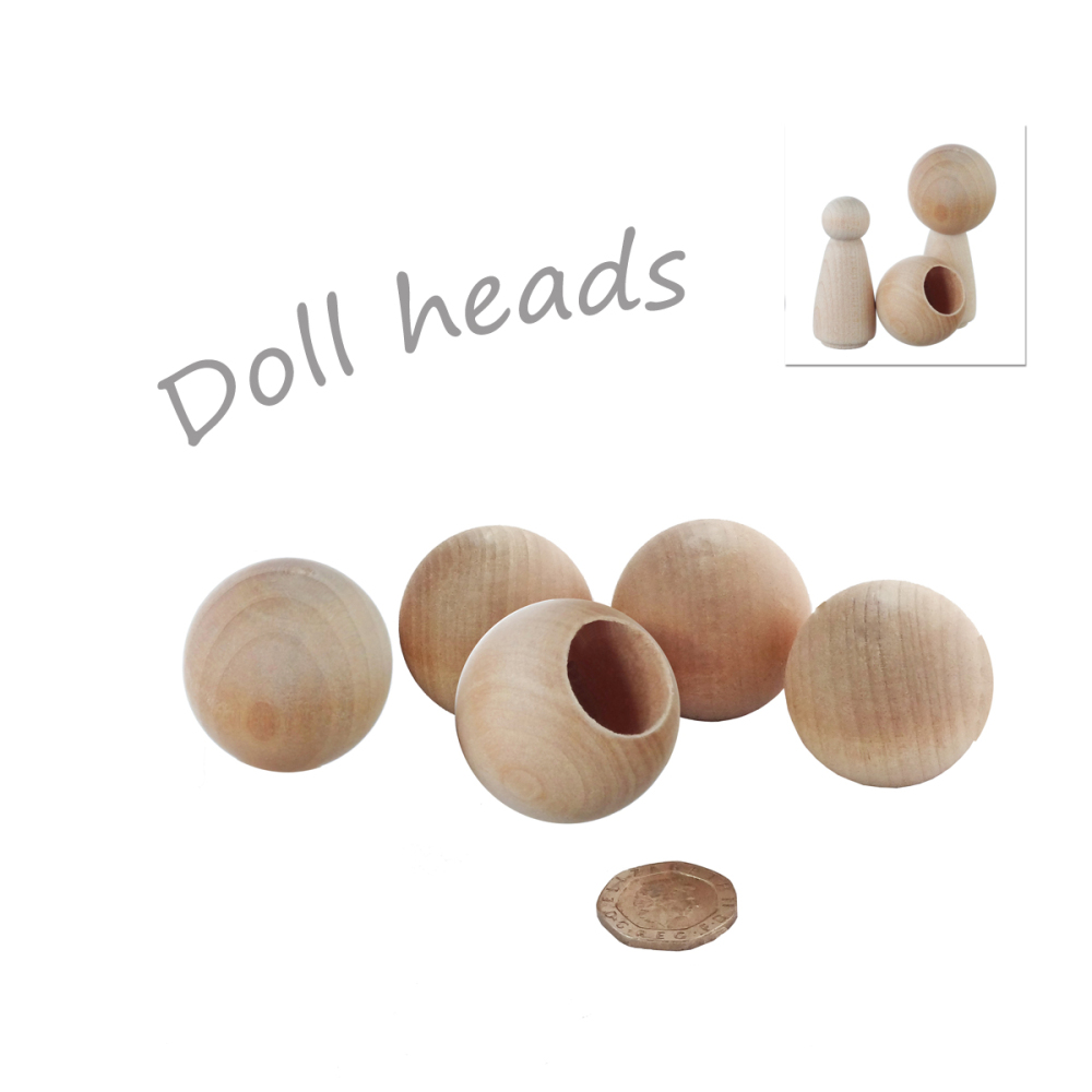 Seven 3.2cm wooden beads to make heads for Kawaii girl figures