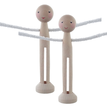 EXCLUSIVE SET! Two peg dolls with painted face - bespoke pegs, smaller heads, stands & arms