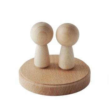 2 Kokeshi peg dolls on a solid beech wood round base - wedding cake topper set