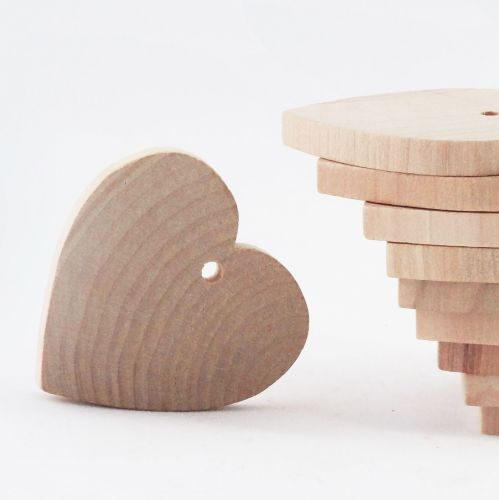 Ten 5cm solid wooden hearts with holes