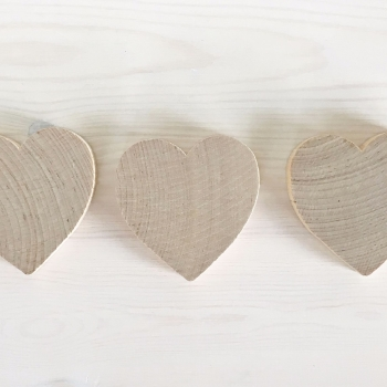Three chunky heart shapes 7.5cm across and 1.3cm thick