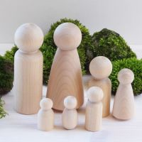 Family set - man, woman, boy, girl, toddler, tot and baby wooden figures