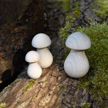Ten 5cm tall wooden mushrooms / toadstools / fungi