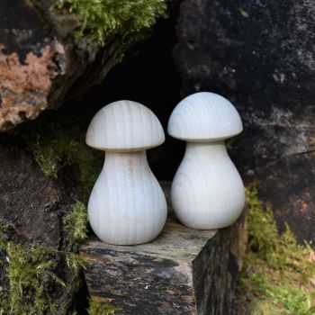 Ten 6.4cm tall wooden mushrooms / toadstools / fungi