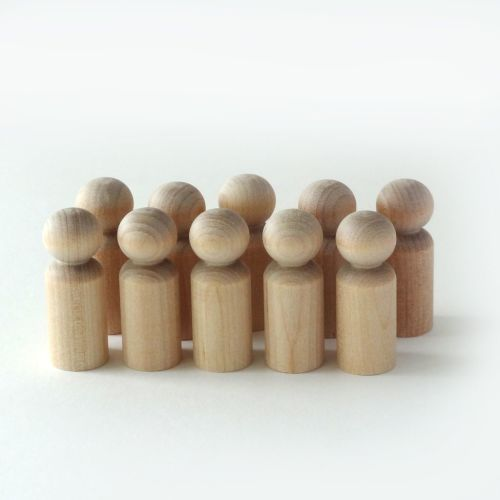 Ten 4.3cm tall wooden doll toddler shapes