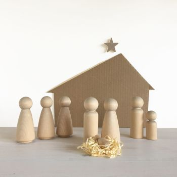 Christmas nativity scene - complete set of wooden blanks