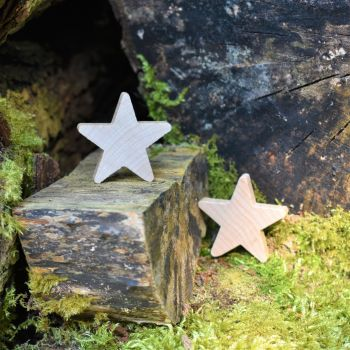 Ten 3.8cm solid wooden stars