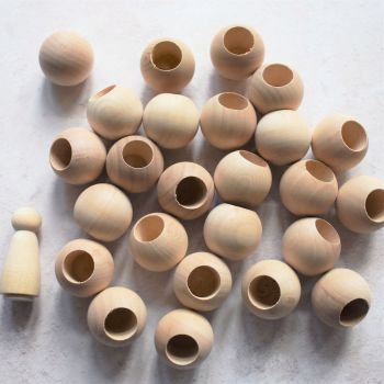 25-pack of head beads / dowel caps for girl dolls - 15% off (Seconds)