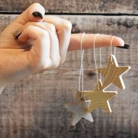 Five hanging stars - 3.8cm solid wooden star decoration