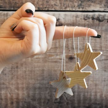 5 x hanging stars - 3.8cm solid wooden star decoration