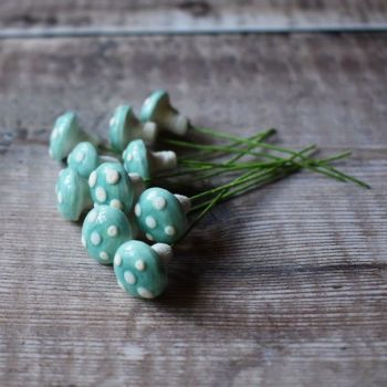 Small glazed spun cotton mushrooms, blue with white spots - pack of ten