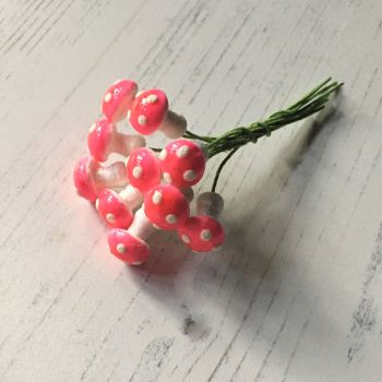 Tiny glazed spun cotton mushrooms, pink with white spots - pack of ten