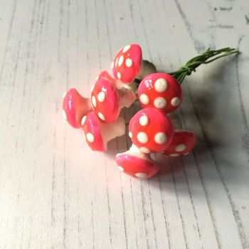 Small glazed spun cotton mushrooms, pink with white spots - pack of ten