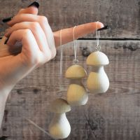 3/5/10 Large mushroom hanging decorations - 6.4cm wooden toadstools / fungi with hanging ring