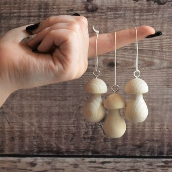 5 or 10 Medium mushroom hanging decorations - 5cm wooden toadstools / fungi with hanging ring