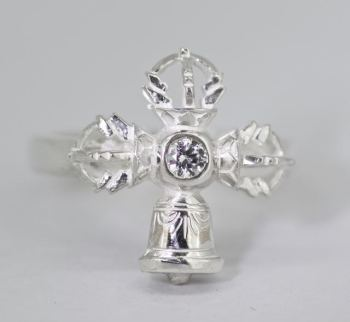 Vajra and bell ring - silver medium