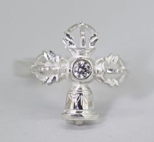 Vajra and bell ring - silver medium