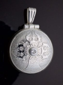 Medium silver vajra & bell locket