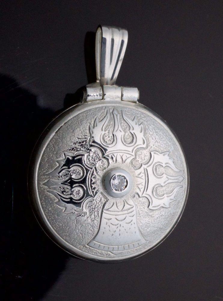 Medium silver vajra & bell locket