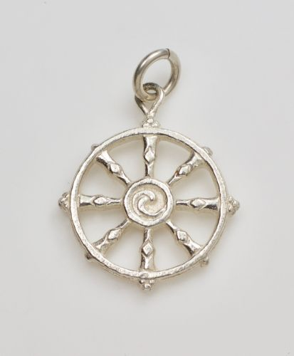 Dharma wheel pendant - large silver
