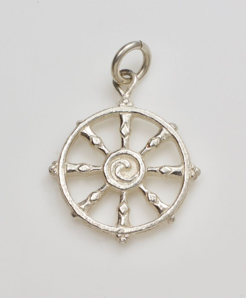 Dharma wheel pendant - large silver