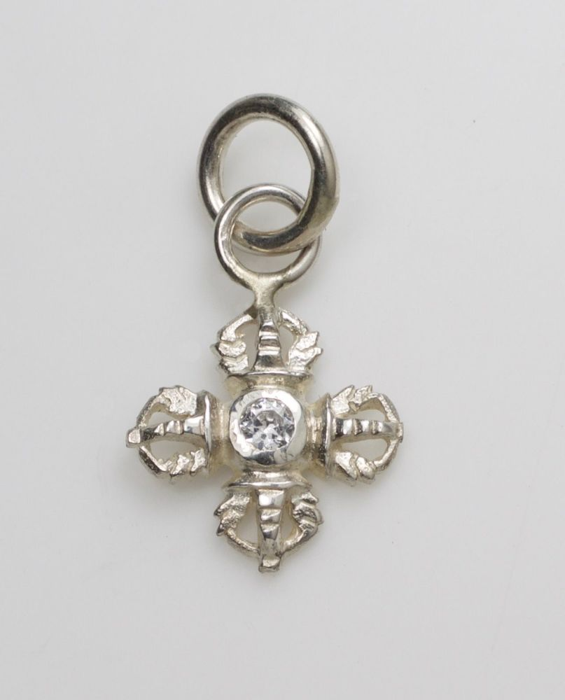 Double vajra pendant - small silver