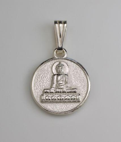 Buddha disc pendant - silver