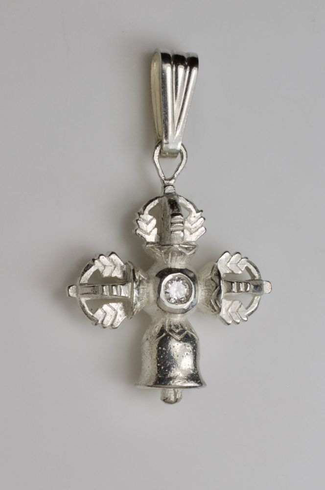 Large Vajra and bell pendant - silver