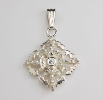 Double vajra pendant large silver