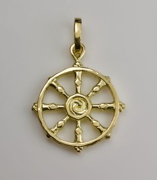 Dharma wheel pendant - large gold