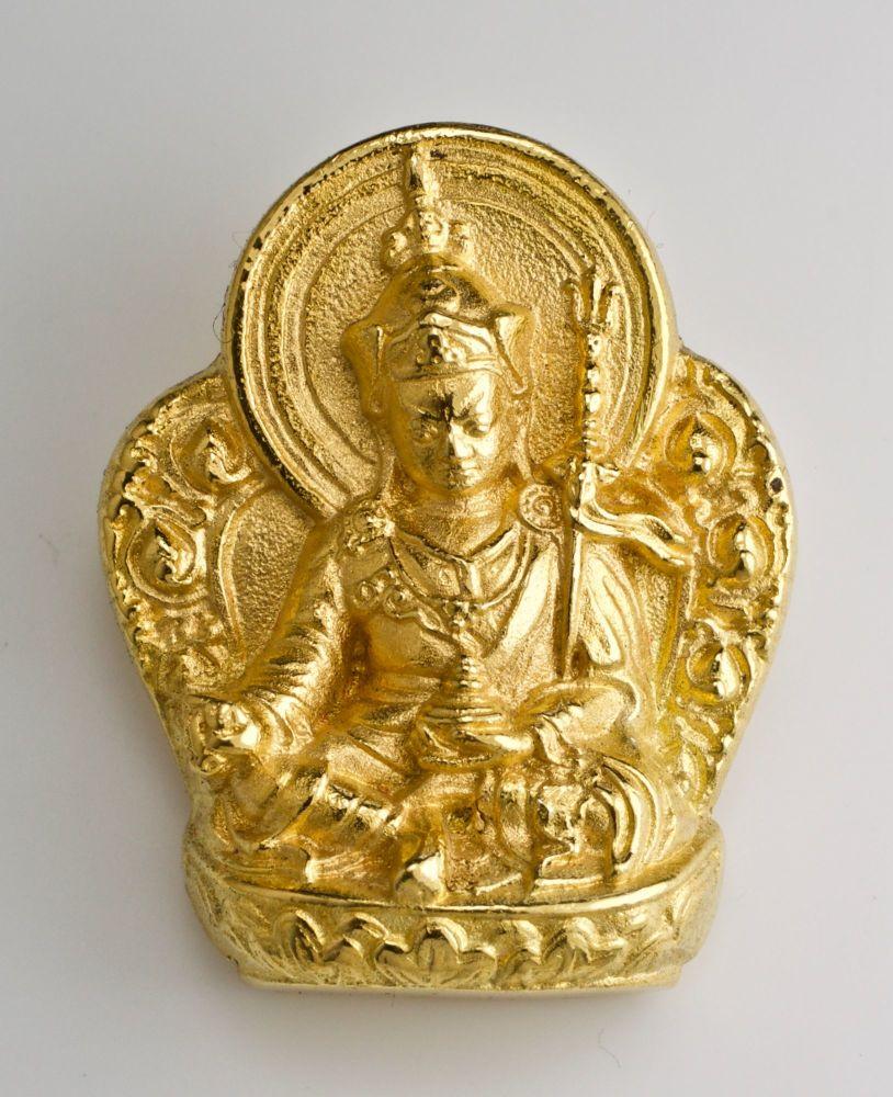 Guru Rinpoche pendant - large silver, gold plated