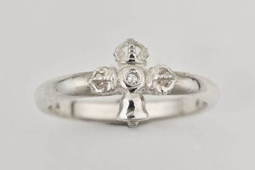 Vajra and bell ring - silver small