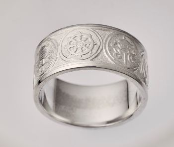 Eight Auspicious symbols ring - silver