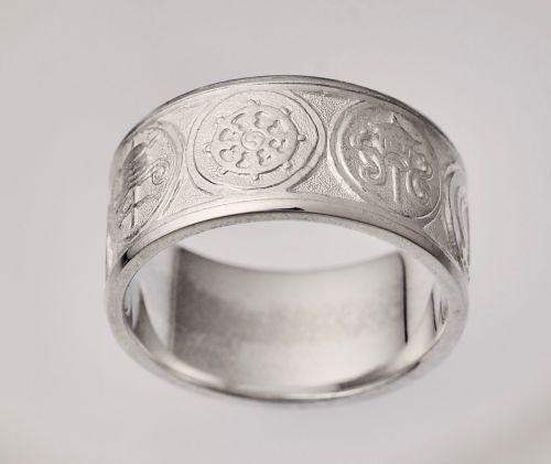 Eight Auspicious symbols ring - silver