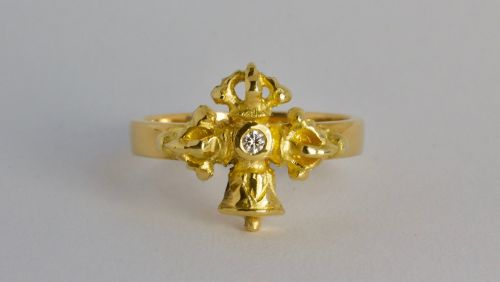 Vajra and bell ring - antique style, gold