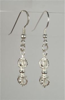 Vajra drop earrings - silver
