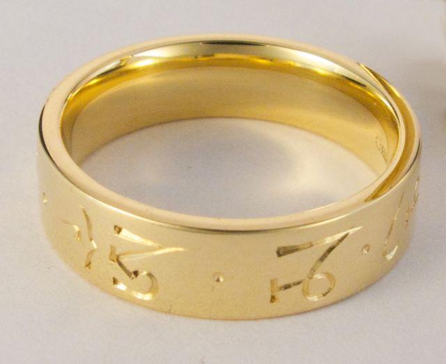 Mani mantra ring - gold 6mm