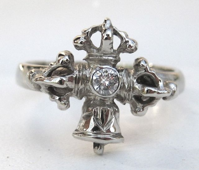 Vajra and bell ring - antique style, silver