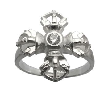 Double vajra ring - silver