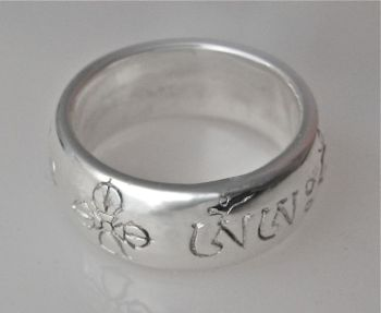 Vajra guru mantra ring with vajra and bell - silver
