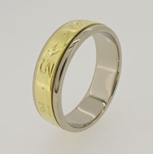 Spinning mantra ring - silver and gold