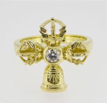 Vajra and bell ring - gold medium