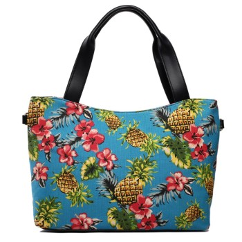 Pineapple Canvas Tote Bag - Blue