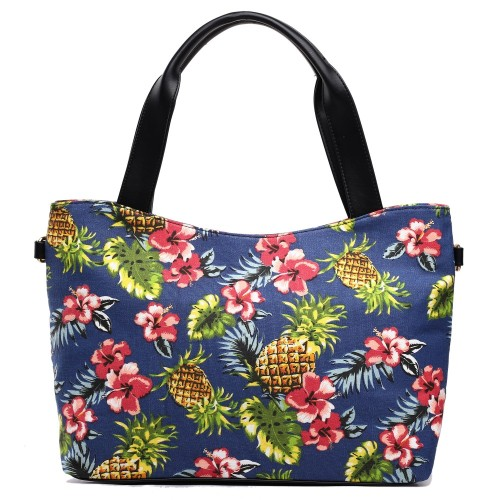 Pineapple Canvas Tote Bag - Navy