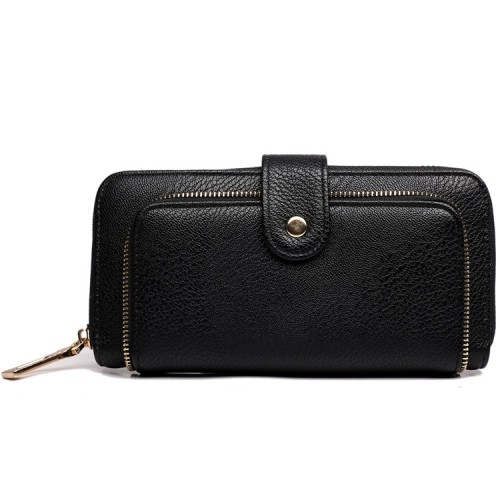 Black Textured Leather Look Purse